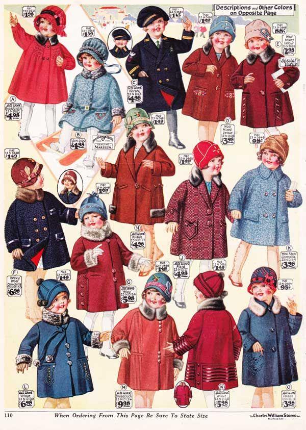 girls winter coats from a 1927 catalog vintage 1920s. Black Bedroom Furniture Sets. Home Design Ideas