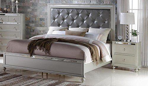 Soflex Kiana Silver Grey Diamond Tufted Headboard Panel Bed