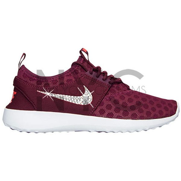 ccb0cf4d4f Blinged Nike Juvenate Shoes Burgundy Customized With Swarovski Crystal...  ( 145) ❤ liked on Polyvore featuring shoes