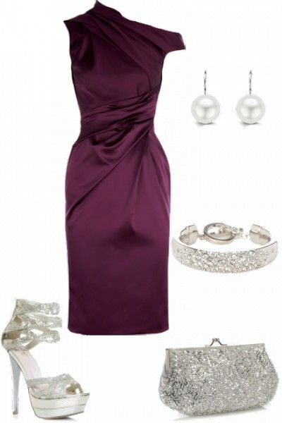 Statement Purple Dress With Silver Accessories Clothes Shoes And