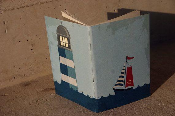 Navy journal lighthouse and ship navy blue journal by GuBoArtBook,