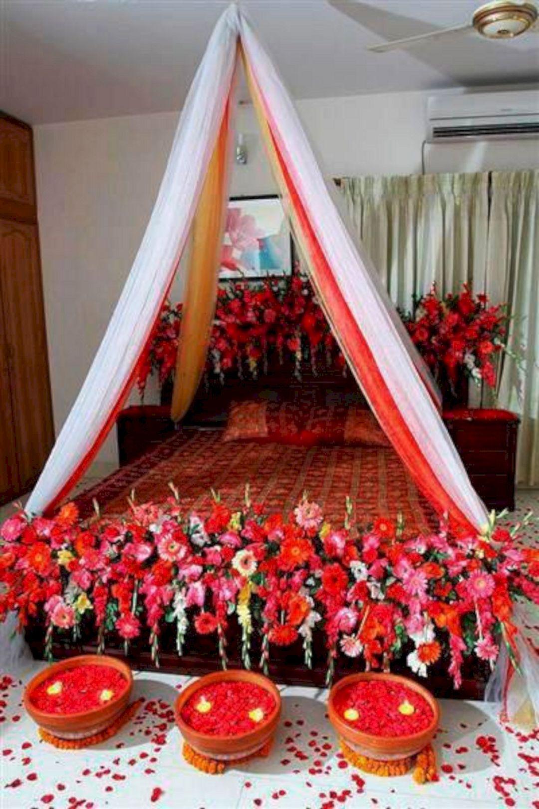 Wedding room decoration ideas   Awesome Wedding Night Room Decoration Ideas  Wedding night