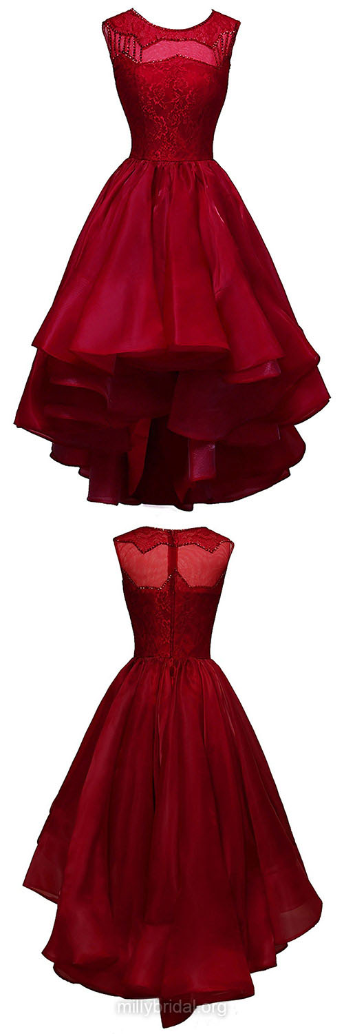 Latest Burgundy Prom Dresses,Asymmetrical Sequins Homecoming Dresses,A-line Scoop Neck Formal Evening Gowns,Organza Lace Cocktail Dress