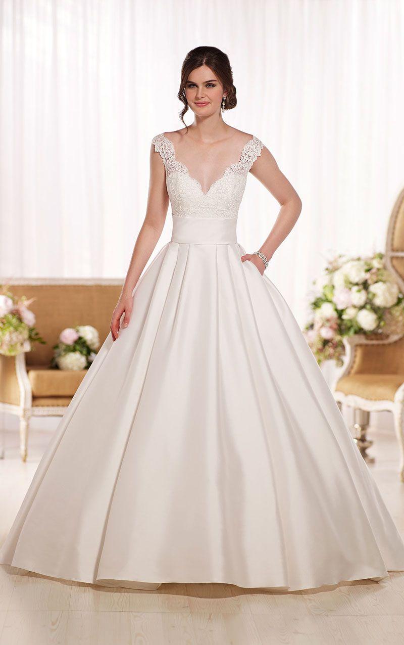 Ivory Satin Lace Bodice Floor Length V-neck Ball Gown Wedding Dress ...