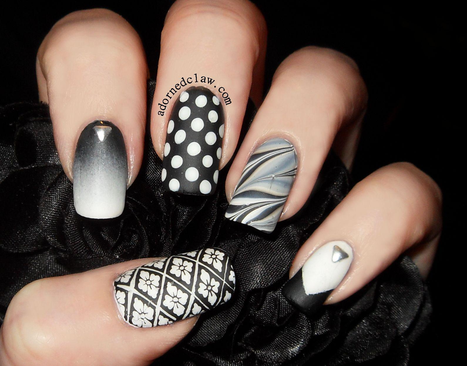 35 Awesome Black & White Nail Art Ideas | Matte black, Matte nail ...