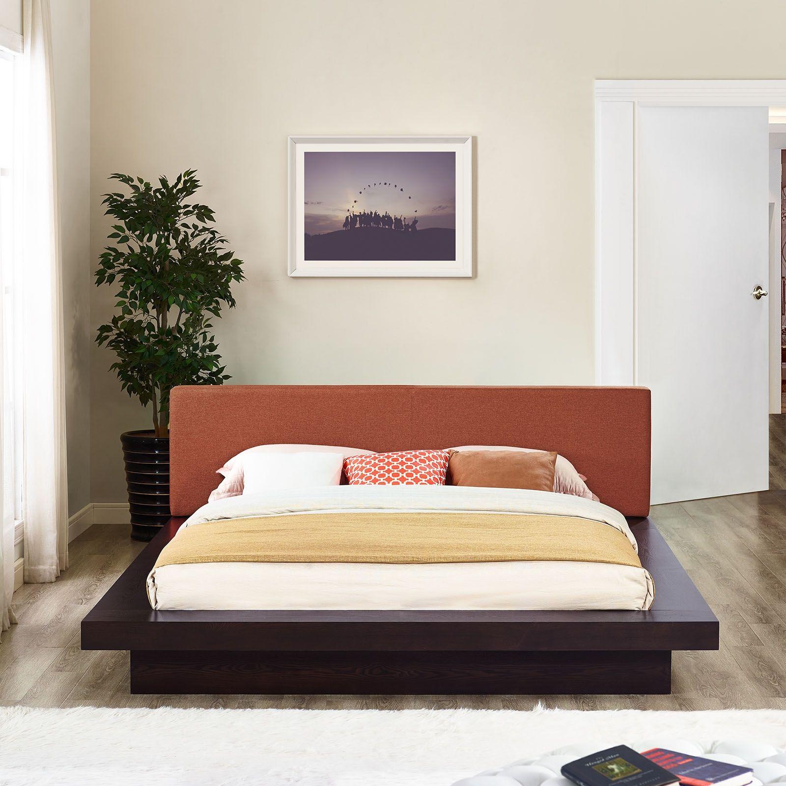 Modway 5721 cappuccino queen platform bed w orange fabric headboard