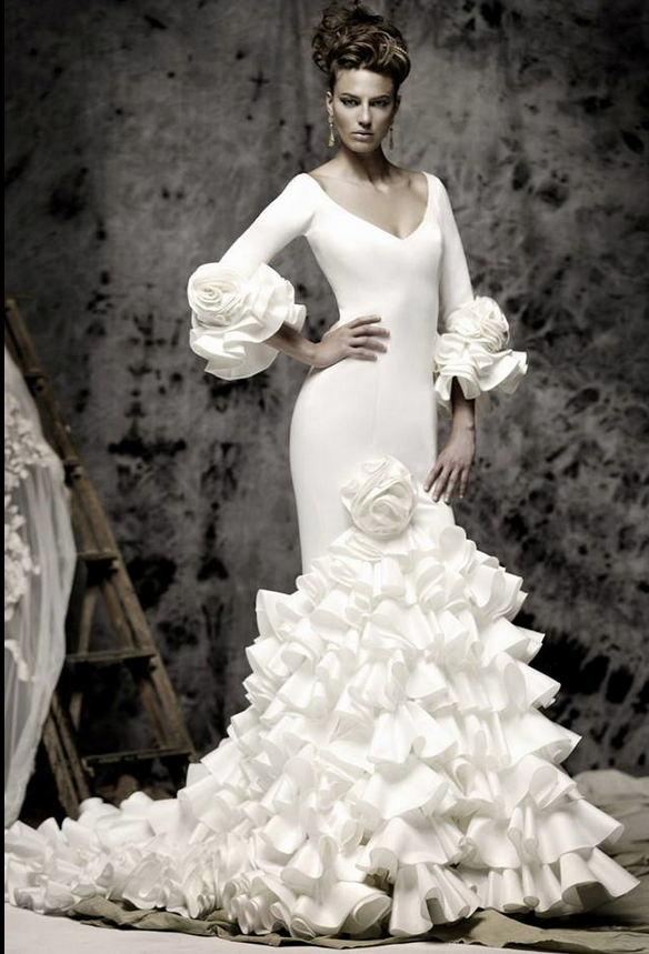 vicky martin berrocal long sleeve wedding dress with ruffles