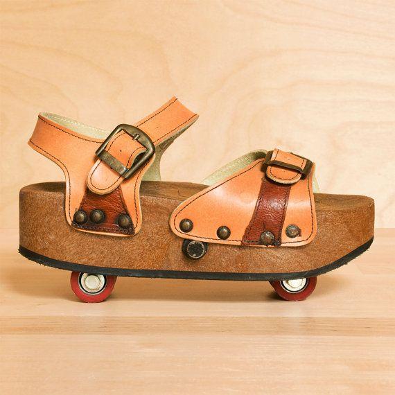 qsaVintage 1970s Omnia'c pop out roller skate platform sandals 7 - 7.5. Made in Italy. ($68.00)