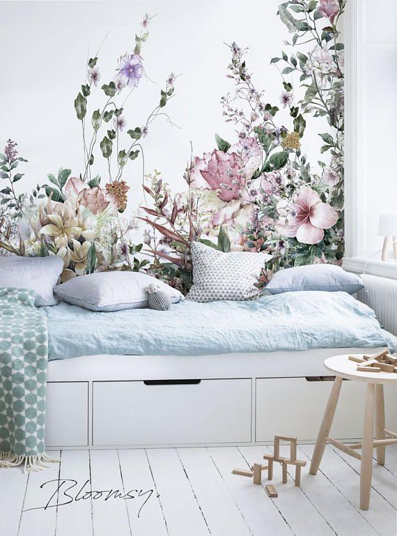 abnehmbare tapete feld blumen wandbilder abnehmbare tapete shabby chic decor en 2019. Black Bedroom Furniture Sets. Home Design Ideas