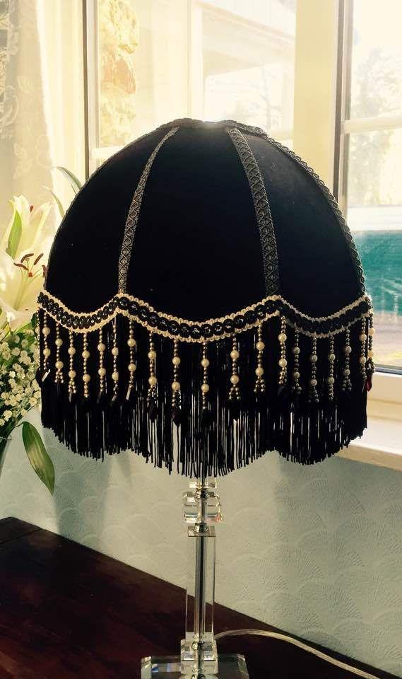 A Victorian Lampshade Black Velvet Beaded Fringe Beaded Lampshade Parasol Lampshade Black V Victorian Lampshades Beaded Lampshade Vintage Velvet