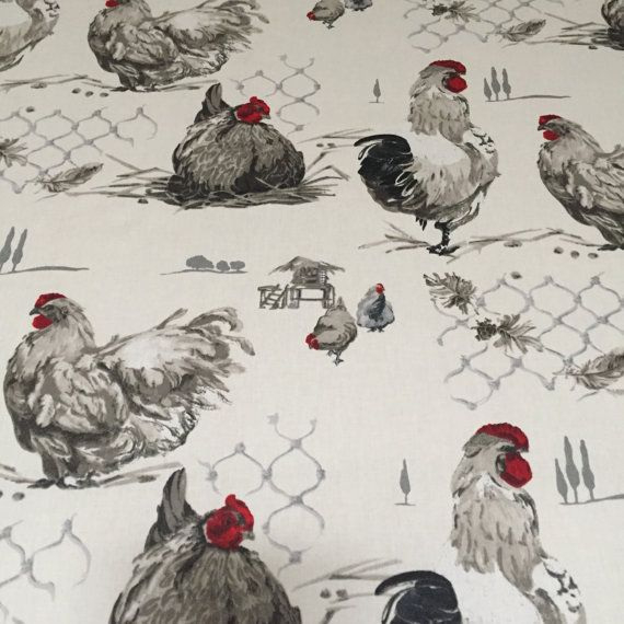 This new Roosters and Hens tablecloth has both scattered across a ...