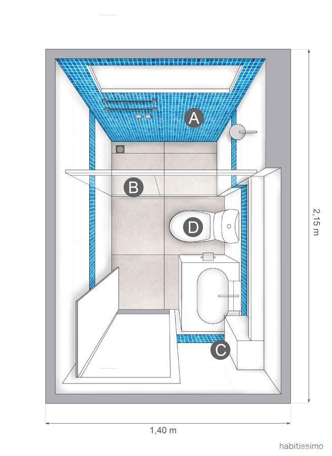 Planta baño azul Bathrooms Pinterest Baños, Cuarto de baño and - Sanitarios Pequeos