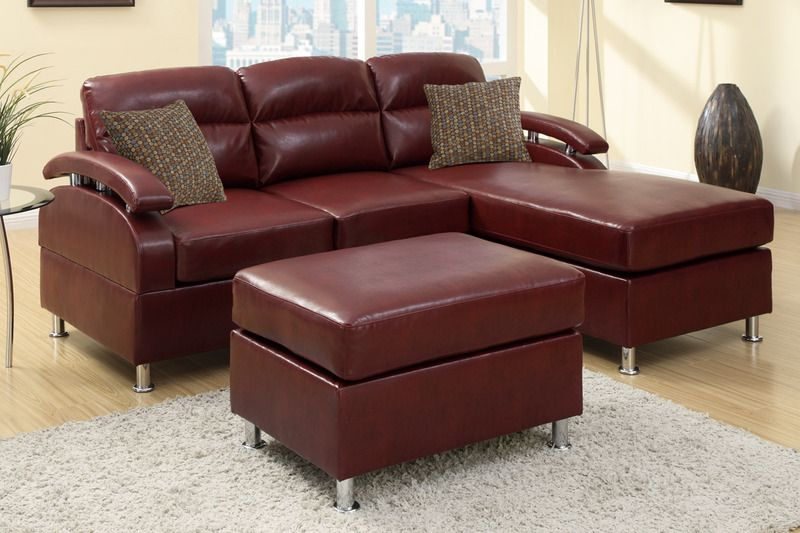 Modern Small Burgundy Leather Sectional Sofa Reversible Chaise Ottoman Sectional Sofa With Chaise Leather Sofa Set Sectional Sofa