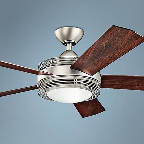 60 Kichler Enthrall Led Brushed Nickel Ceiling Fan 7k356 Lampsplus Com Ceiling Fan Brushed Nickel Ceiling Fan Ceiling Fan With Light