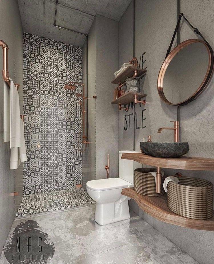 Salle de bain carreaux ciments b ton cuivre d e - Meuble salle de bain fait maison ...