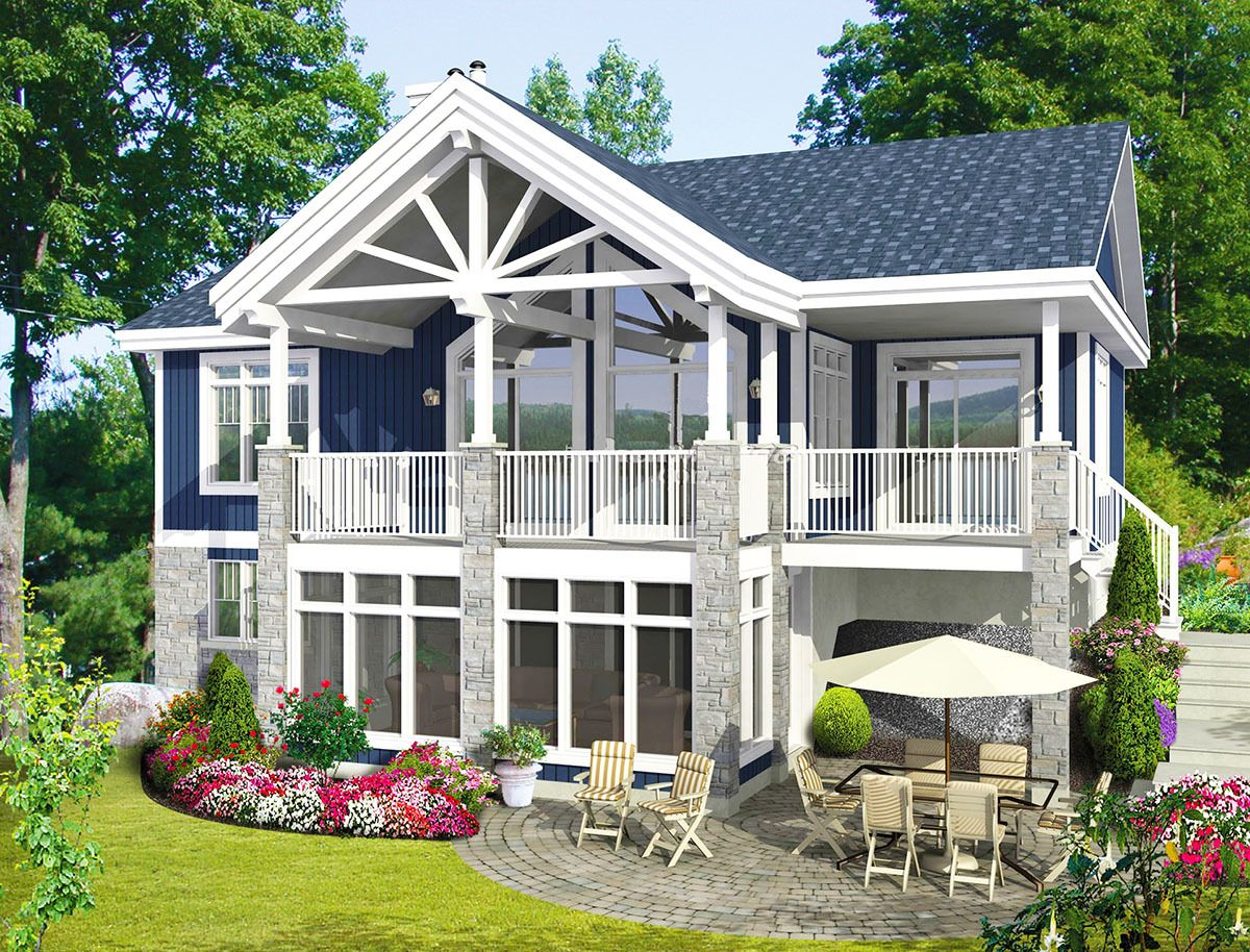 Plan 80676pm Cottage With 2 Bedrooms And A Spacious Porch Area For A Rear Sloping Lot Lake Houses Exterior Small Lake Houses Cottage Plan