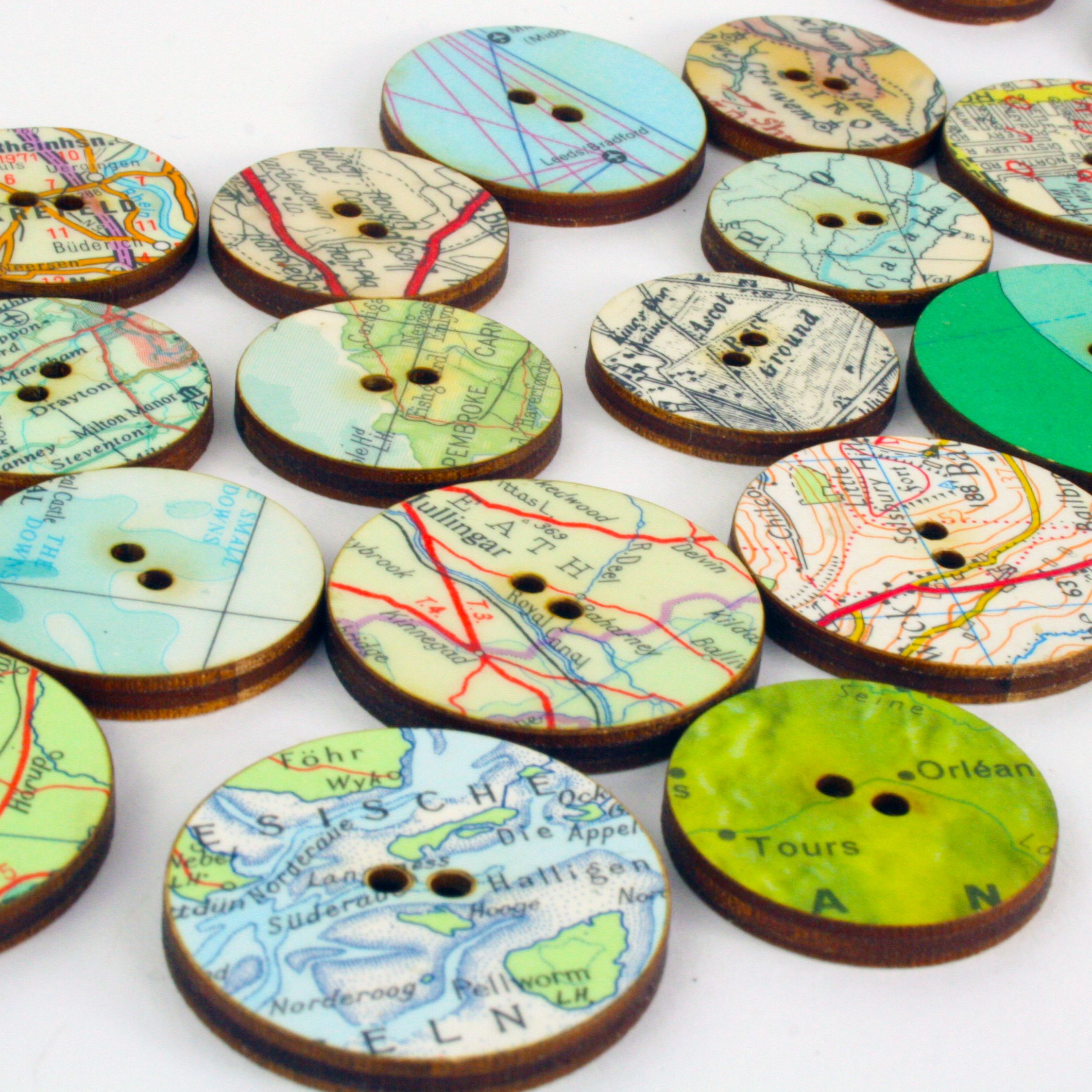 Mixed pack of ten pretty map buttons  We like to make use of every     Bombus map buttons   handmade craft supplies from Bombus