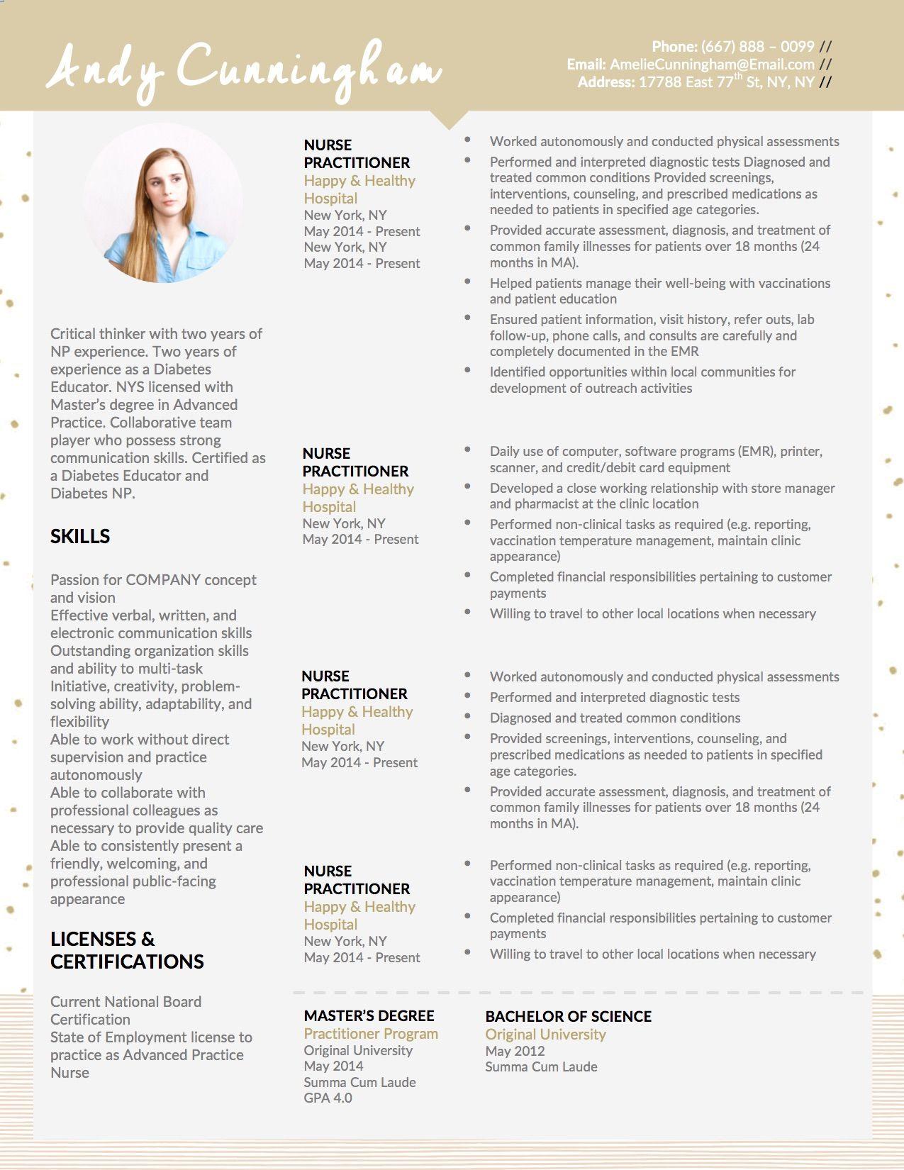 andy cunningham ii nurse practitioner resume