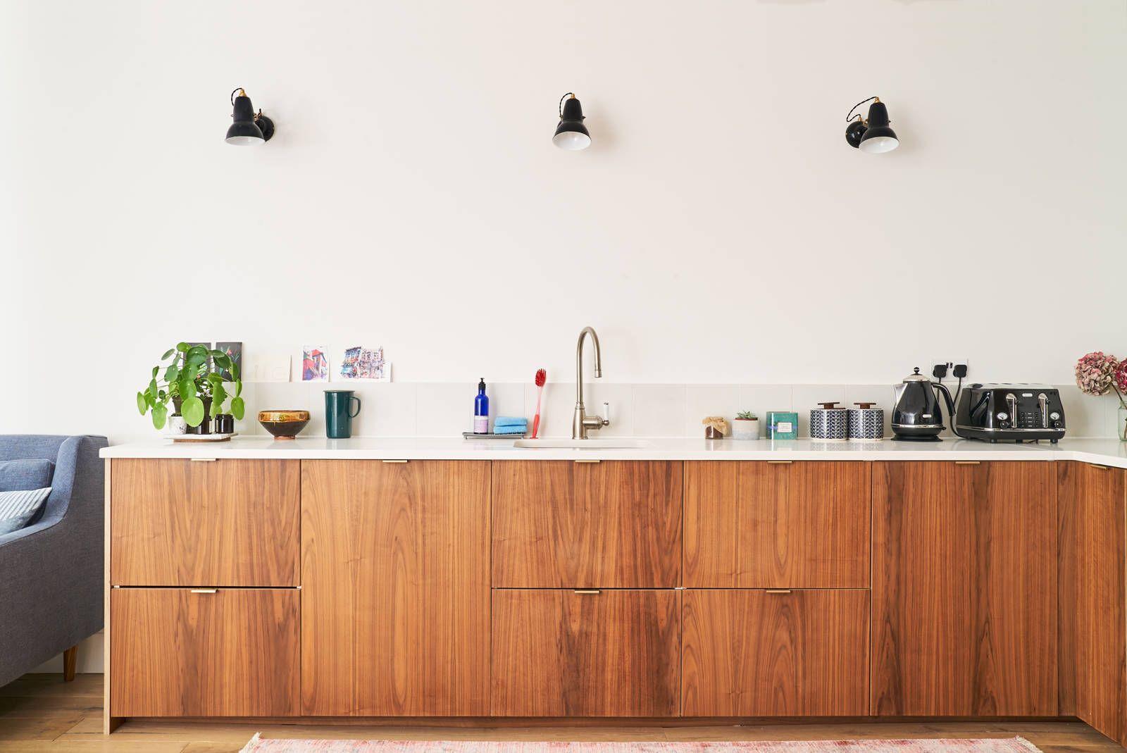 Walnut Faced Birch Ply Kitchen With Brass Edge Pull Handles By Plykea Plywood Kitchen Diy Kitchen Renovation Walnut Kitchen
