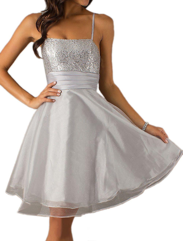 CLEARANCE - Short Silver Dama Dress Spaghetti Strap A Line Skirt ...
