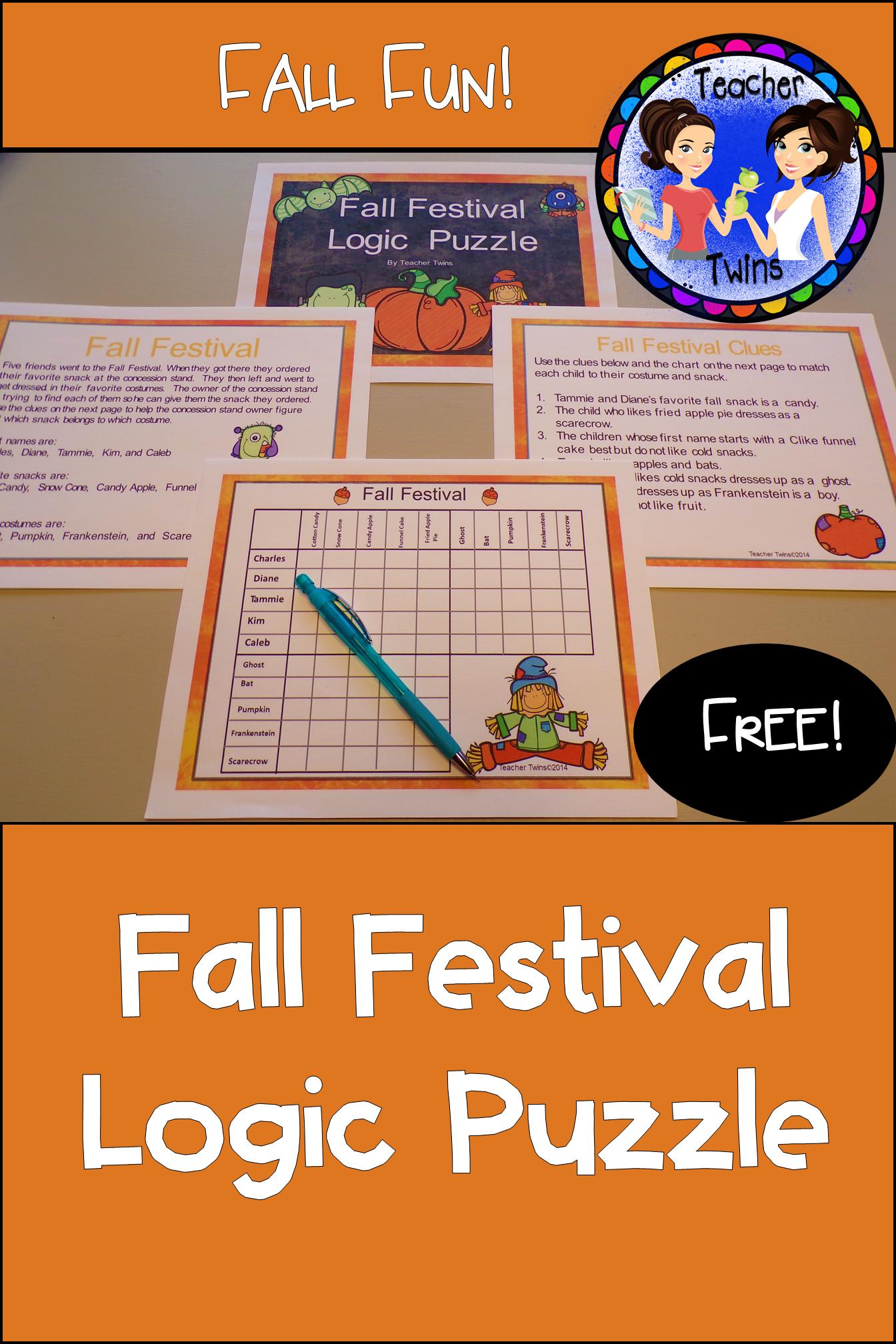 Fall Festival Logic Puzzle Problem Solving Activities Maths Activities Middle School Algebra Activities [ 2016 x 1344 Pixel ]