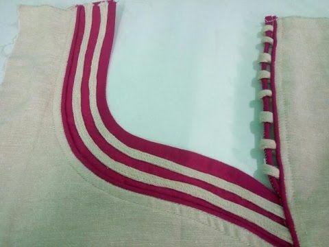 Latest kurti front neck design cutting and stitching in Hindi - YouTube