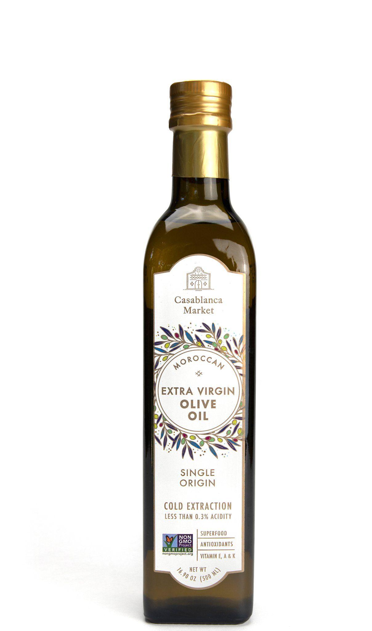 Casablanca Market Moroccan Extra Virgin Olive Oil, Glass Bottle (500mL) - Wholesale