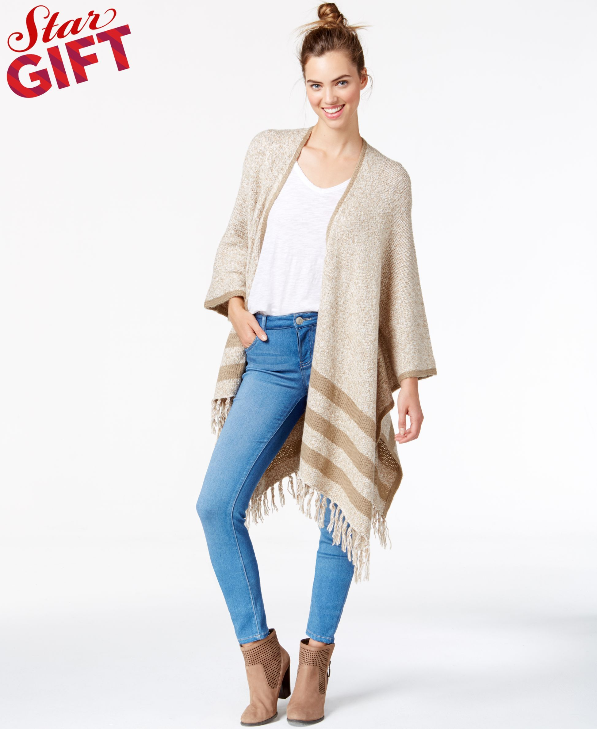 d261e9856 kensie Striped Fringe-Detail Sweater Poncho, a Macy's Exclusive Style