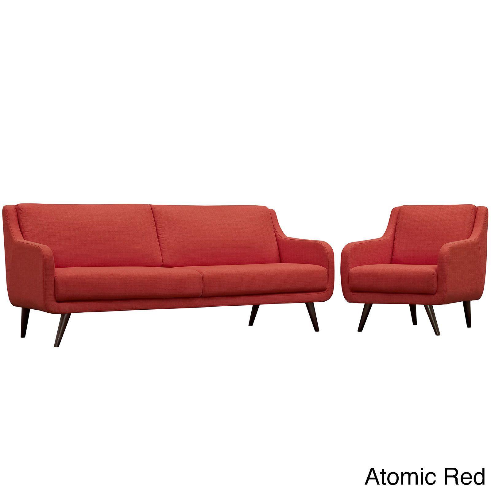Modway Verve Grey/Espresso Polyester/Rubberwood Living Room Set (Set of 2) (Atomic Red), Beige Off-White