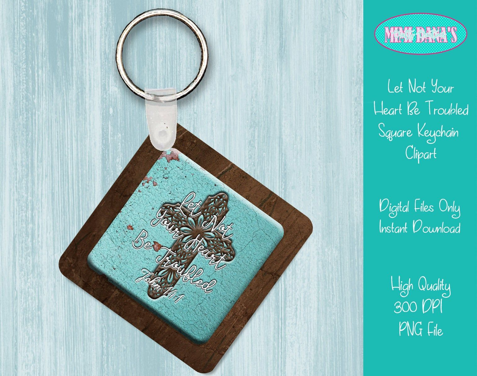Let Not Your Heart Be Troubled Square Keychain Clipart Etsy Clip Art Pretty Wall Art Keychain