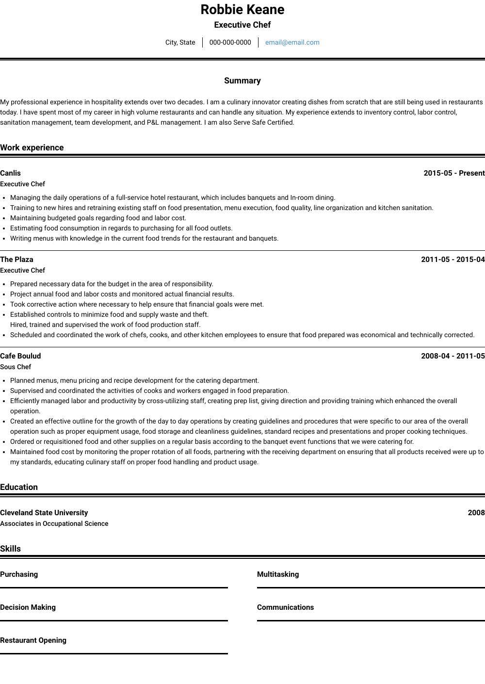 Chef Resume Samples Templates Visualcv