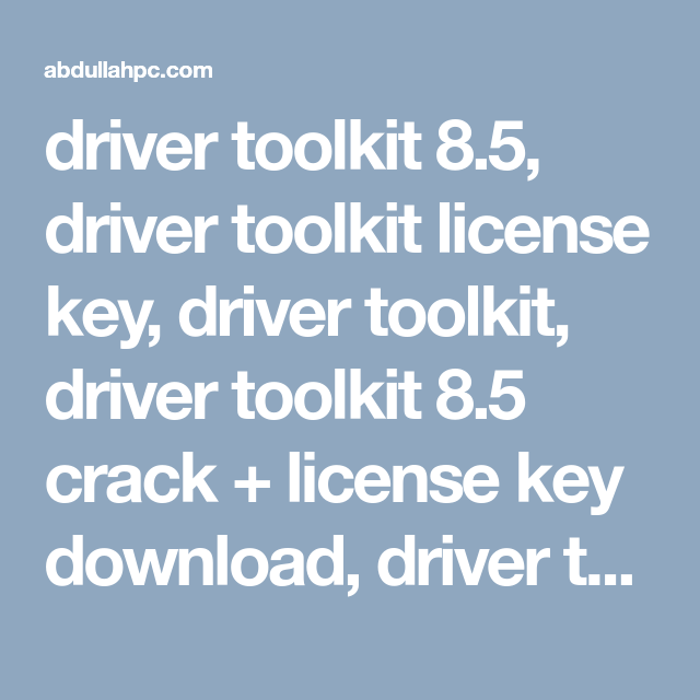 Crack For Driver Toolkit Key