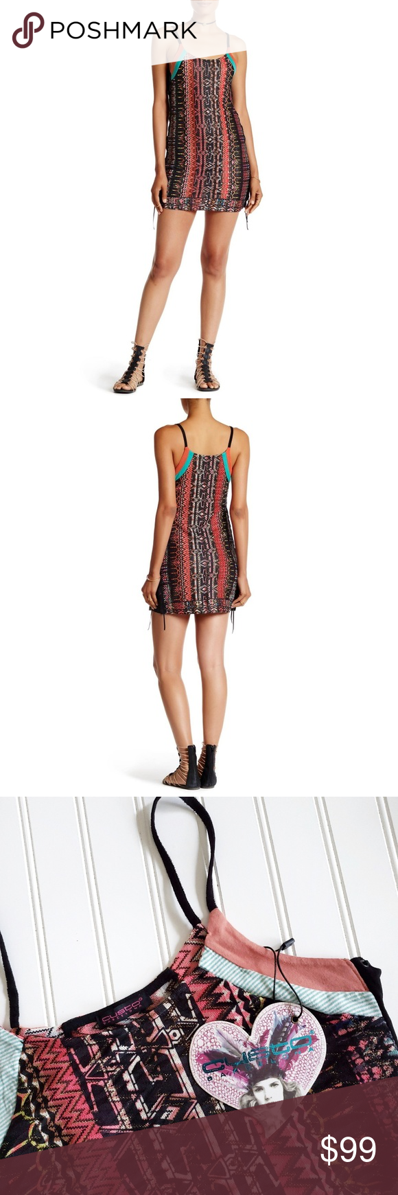 CUSTO BARCELONA Sassy Hahei laceup boho mini dress Custo Barcelona fitted boho mini dress  New with tag Style: Sassy Hahei Size: Small Color: multi Polyester / Cotton slips on overhead scoop neck spaghetti straps sheer patterned knit construction metallic accents side lace-up detail which can be tightened or loosened  Approximate Measurements Length (top of strap to hem) 32