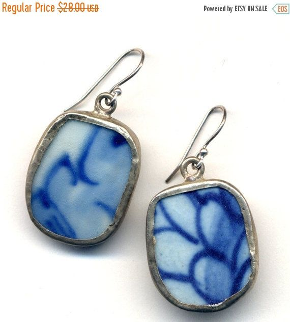 SALE 20% off Winter Earrings Antique Pottery Blue and by Annaart72