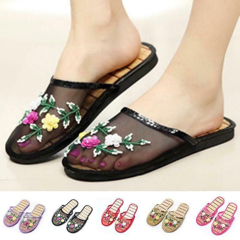 Women's Sandals Suede Slippers Flat Heels Embroidery Chinese Mules Oxford Casual