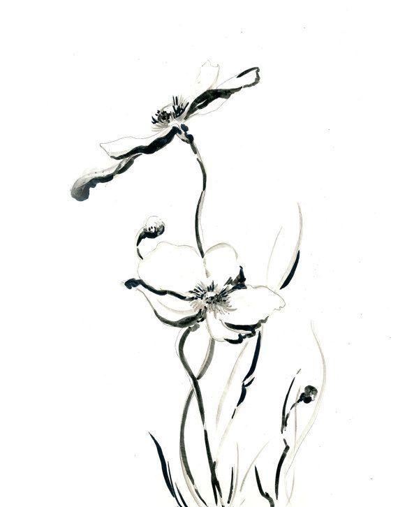 Minimalist Art Print Flowers Drawing Art Print Black And White Wall Art Floral Prints Art Minimalist Art Print Flower Drawing