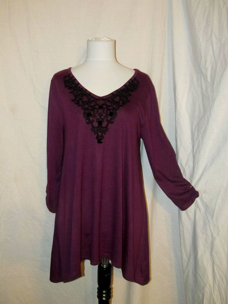 Sz XL August Silk Asymmetrical Poly Knit Top 3/4 Sleeves Purple Black Accent  #AugustSilk #KnitTunicTop #Versatile