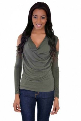 Olive Cut out Top