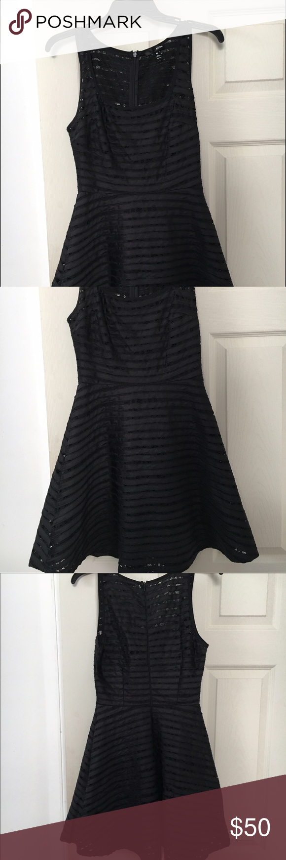 Little black dress! This dress is fit and flare with a lacy pattern. Great to dress up or down! Aqua Dresses Mini