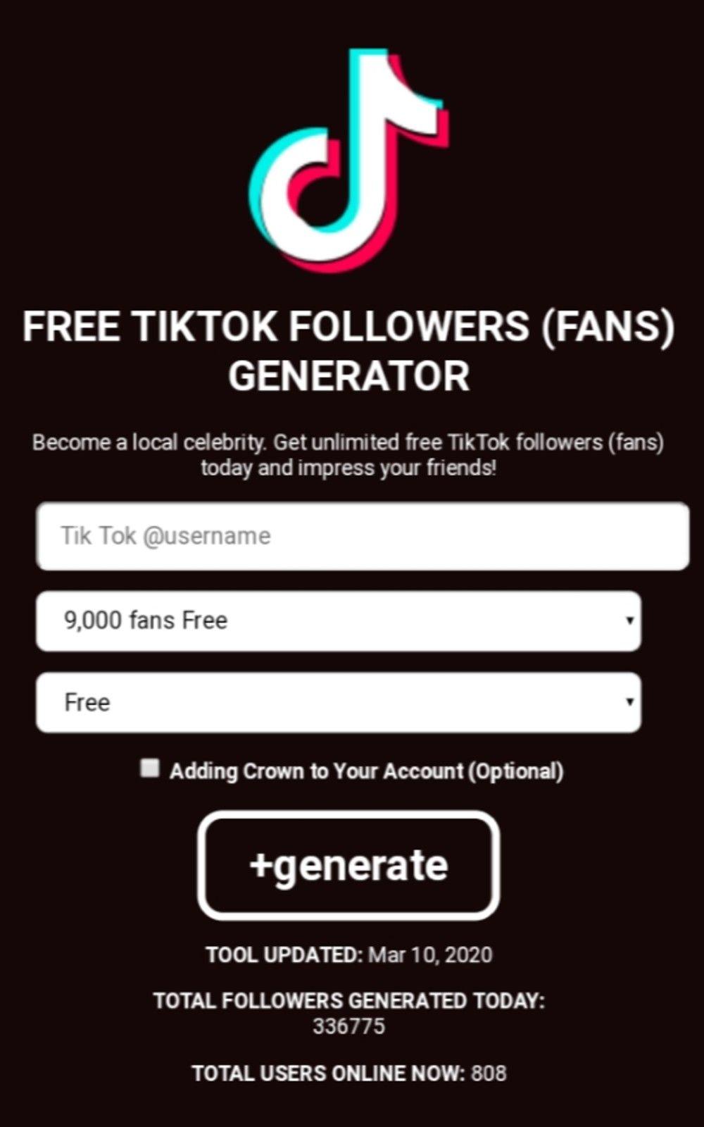Free Tiktok Followers Fans Generator How To Get Followers Free Followers How To Get Famous