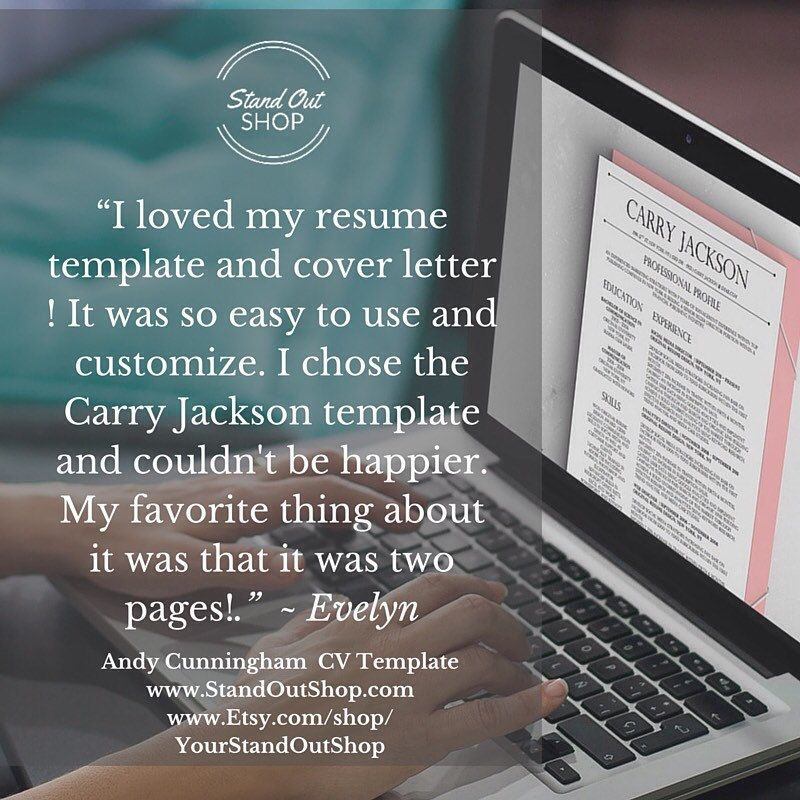 Carry Jackson Modern 2-Page FANCY Resume + Cover Letter Template - fancy resume template