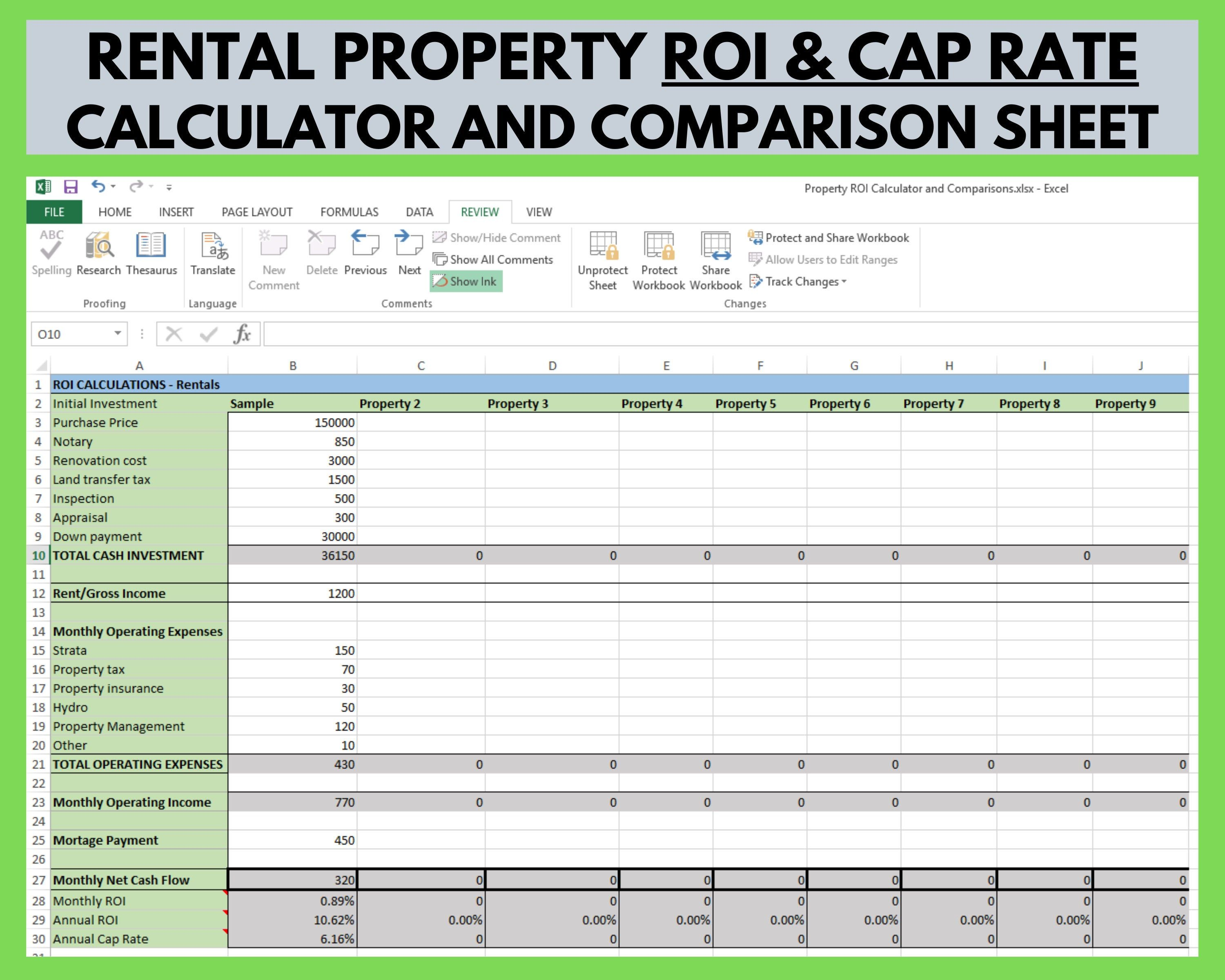 Rental Property Roi And Cap Rate Calculator And Comparison