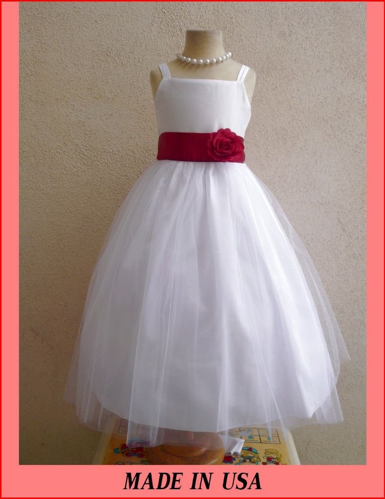 White Dress With Red Flowers Baby White Satin Wedding Apple Red