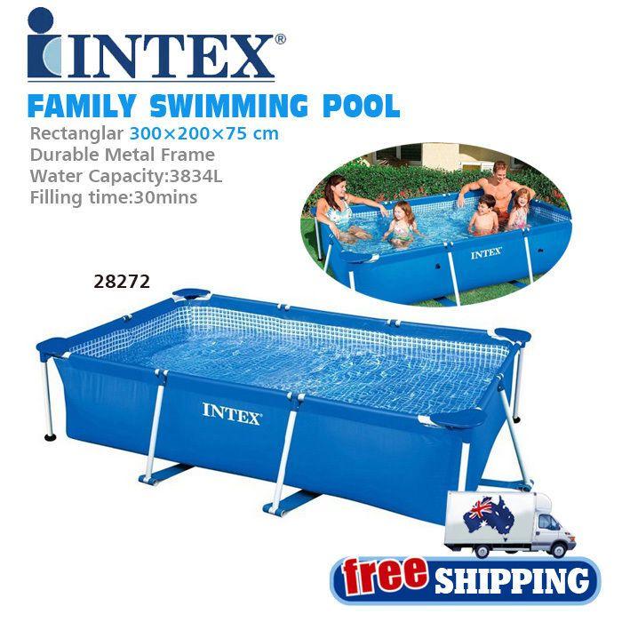 Beautiful Intex L Rectanglar Large Size Metal Frame Above Ground Family Swimming Pool