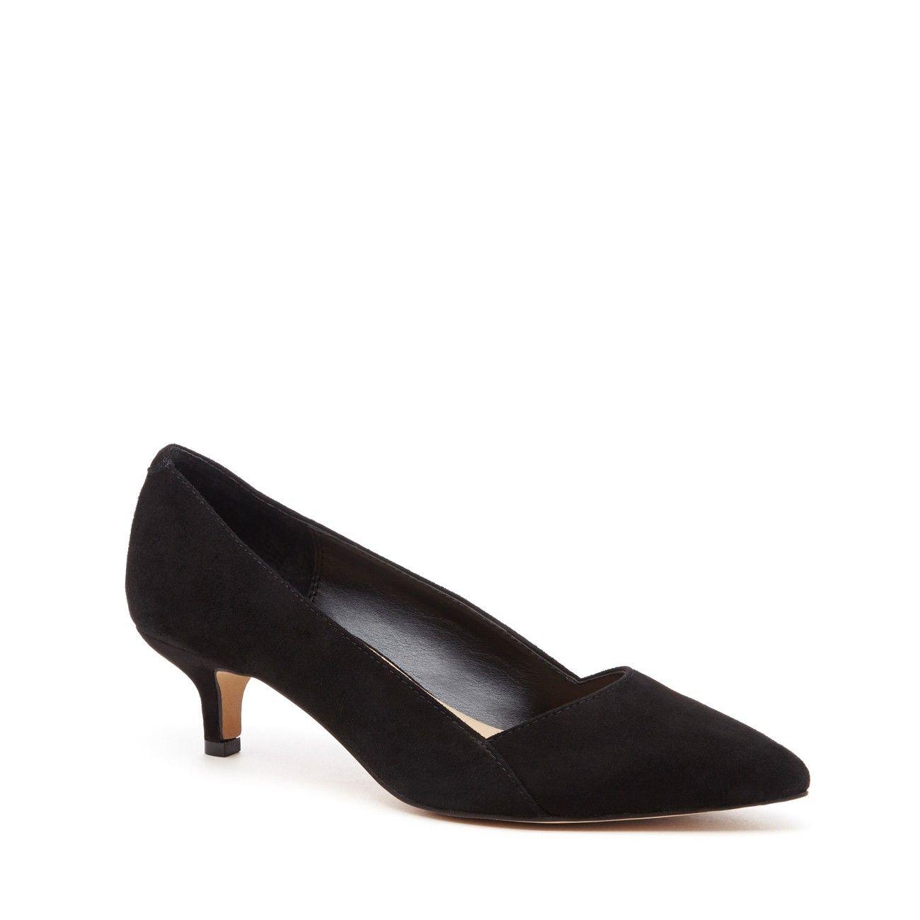 Women's Black Suede 1 3/4 Inch Kitten Heel Pump | Desi by Sole ...