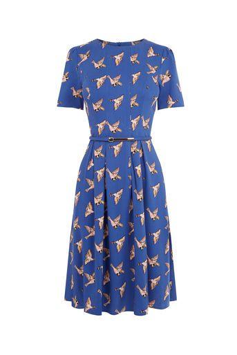 Oasis, LONG BIRD SKATER DRESS Multi Blue