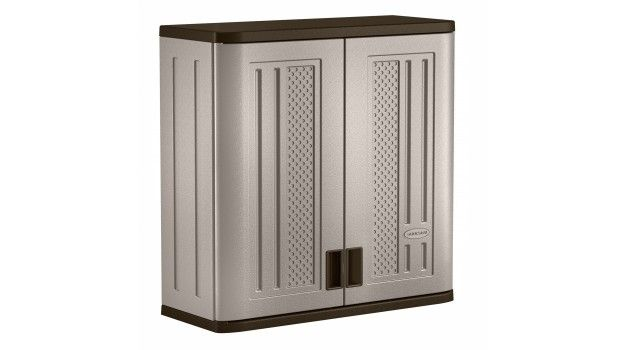 Plastic Utility 2 Door Wall Cabinet Black Accents Utility