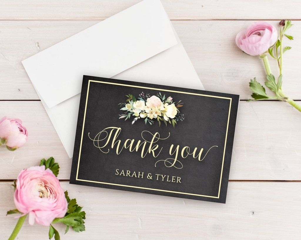 Greenery And Chalk Thank You Cards Pinterest Wedding Thank You