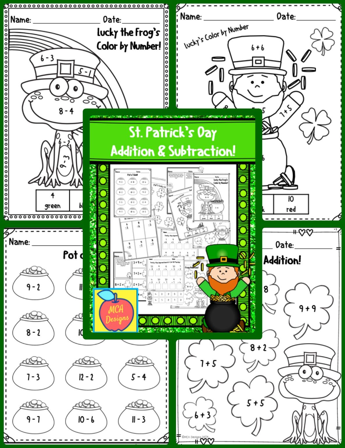 St Patrick S Day Addition And Subtraction