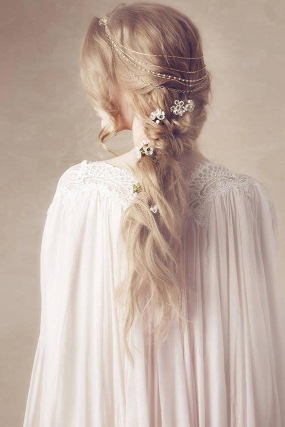 Hair Garland Hair Wreath Halo Golden Headband Hair   Etsy